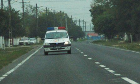 autoturism răsturnat, politie